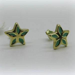 Orecchini stella in oro giallo 18 ct smalto
