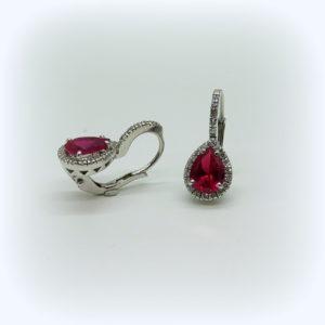Orecchini pendenti argento 925 goccia rossa e contorno zirconi