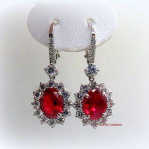 Orecchini pendenti argento 925 centro rosso color rubino