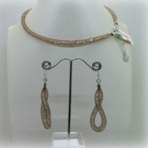 Parure Collana e orecchini swarovski caramella marrone in argento 925