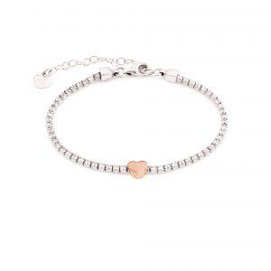 Bracciale Shimmer cuore rosè tennis argento 925 JACK E CO