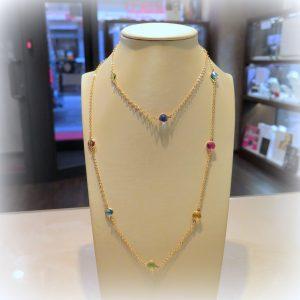 Collana lunga in argento 925 placcato oro rosè e pietre colore