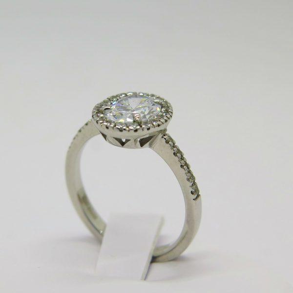 Anello artigianale argento centro ovale