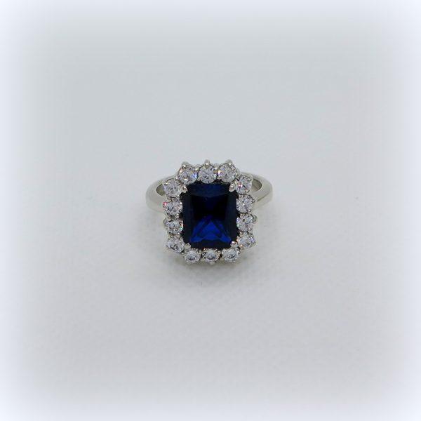 Anello argento 925 pietra blu