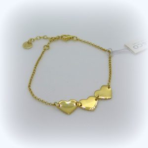 Bracciale cuori in argento placcato oro giallo