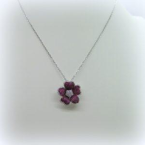 Collana ciondolo fiore rosso in argento