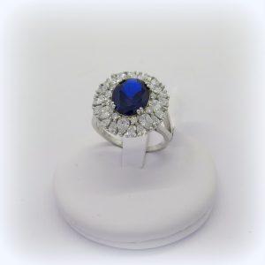 Anello contorno in argento 925 pietra blu