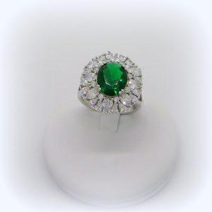 Anello contorno in argento 925 pietra verde