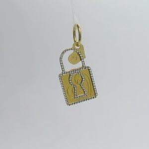 Ciondolo lucchetto e cuore in oro 18 ct