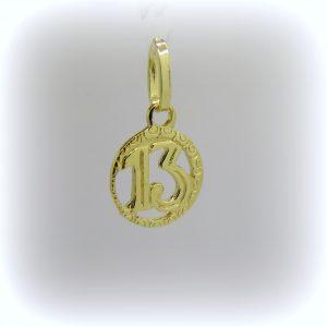 Ciondolo numero 13 in oro giallo 18 ct