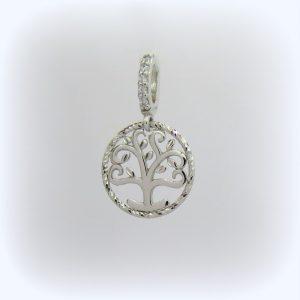Ciondolo albero della vita in oro bianco 18 ct
