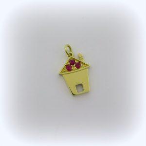 Ciondolo casa in oro giallo 18 ct e rubini