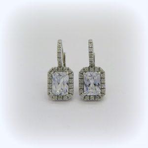 Orecchini eleganti pendenti in argento 925 e zirconi