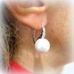 Orecchini pendenti perla in argento 925