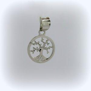 Ciondolino piccolo albero della vita in oro bianco 18 ct